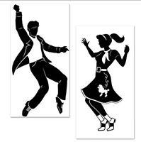 Rock & Roll Dancers 50's Scene Setter Wall Decoration Music Poodle Skirt Dance
