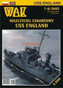 "GENUINE PAPER-CARD MODEL KIT - USS ""ENGLAND""Buckley-class escort destroyer"