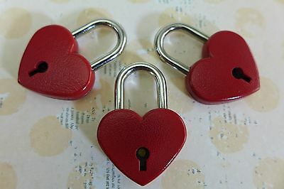Vintage Antique Style Mini Padlock Key Lock Red Heart Shaped  (Pack of 3)