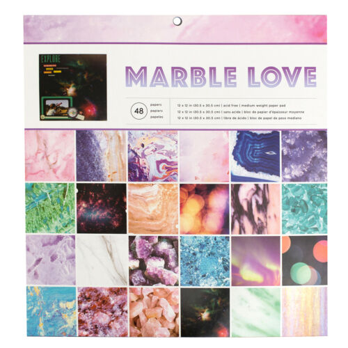"American Crafts Marble Love Single-Sided 12x12/"" Paper Pad 48 Acid Free Sheets"