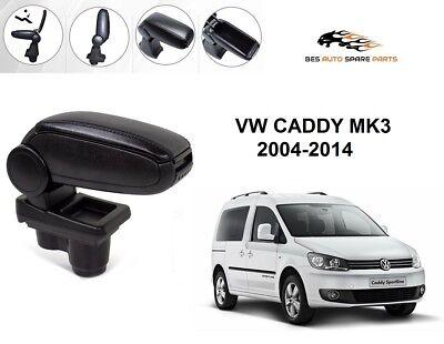 FIT FOR VW CADDY BLACK LEATHERETTE ARMREST CENTER CONSOLE 2004-2014
