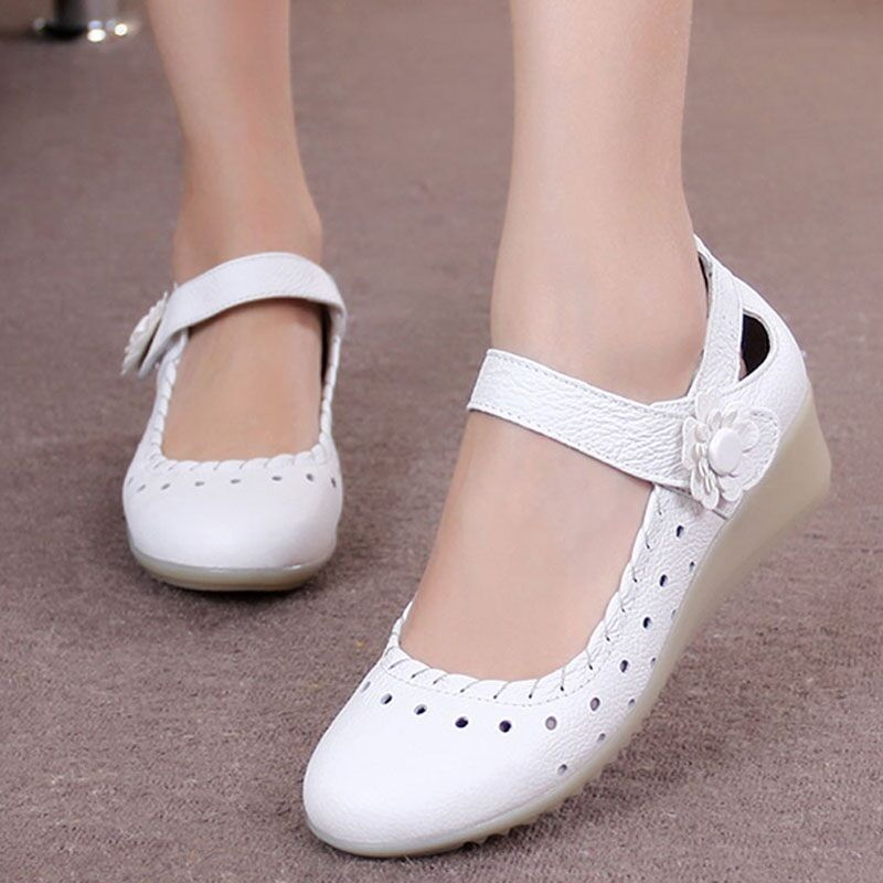 New Hospital Women's Leather Wedge Nusring Shoes Oxfords Breathable Nurse Shoes