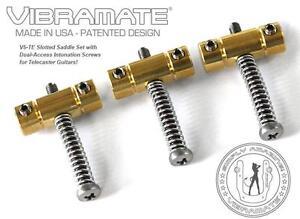 Vibramate-V5-TE-Fendue-Laiton-Pont-Selle-Set-Pour-Tele-Dual-Access-Neuf