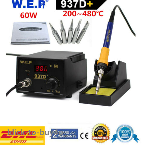 937D Digitale Lötkolben Lötstation Regelbare 60W Soldering SMD Rework Station DE
