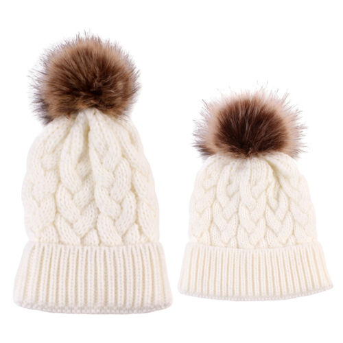 2PCS Monther Kids Parent-Child Warm Hat Knitted Family Match Beanie Ski Cap
