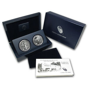 2013 W 2 Coin Silver American Eagle West Point Set W Box