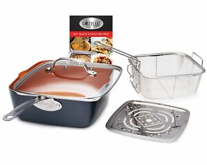 Gotham Steel Ti-Cerama Copper Deep Square 9.5 Frying Pan 4 Piece Set w Lid - NEW