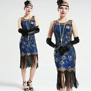 Vintage-1920s-Gatsby-Blue-and-Black-Peacock-Sequin-Fringed-Party-Flapper-Dress