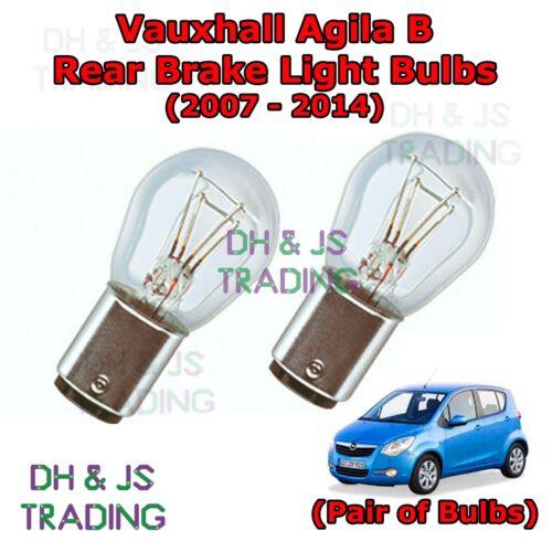 07-14 Vauxhall Agila Rear Brake Light Bulbs Pair of Stop Tail Light Bulb MK2 B