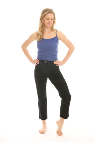 LADIES 3//4 THREE QUARTER LENGTH CROPPED TROUSERS WOMENS ELASTICATED CAPRI