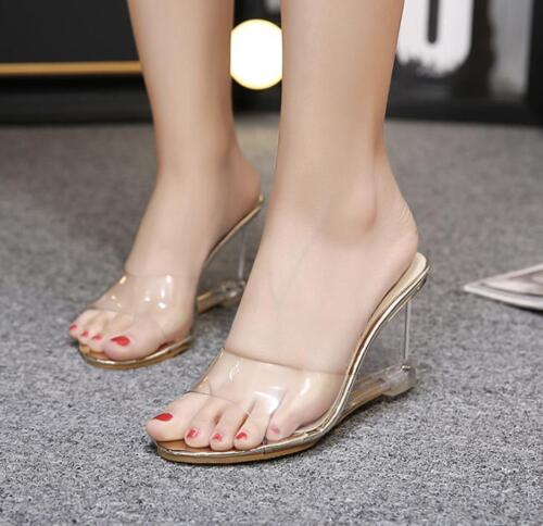 Women/'s Transparent Jelly Open Toe Slippers Slip On Sandals High Wedge Shoes New