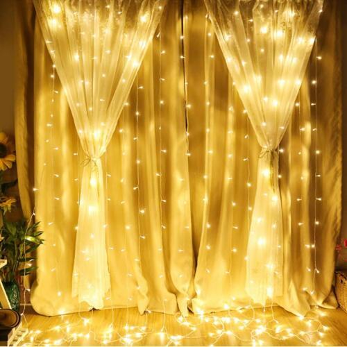 3*3m 300 LED Lichterkette Eisregen lichtvorhang weihnachten innen außen fenster