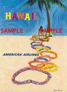 """8.5/"""" X 11/""""  Travel Poster American Airlines HAWAII"""