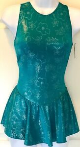 GK-GREEN-VELVT-ICE-SKATE-ADULT-SMALL-SLVLS-FOIL-FROSTED-TRICOT-PRINT-DRESS-Sz-AS