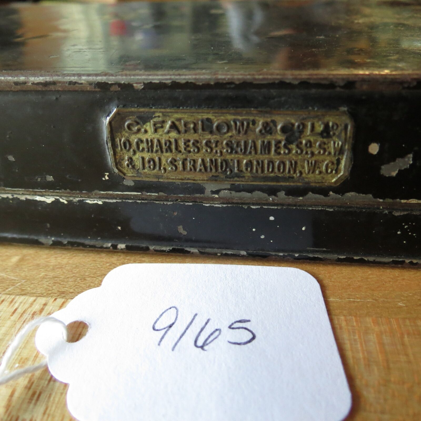 C. Farlow & Co. London Antique Fly Fishing metal Box (lot 9165)