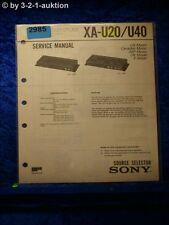Sony Service Manual XA U20 / U40 Source Selector  (#2985)