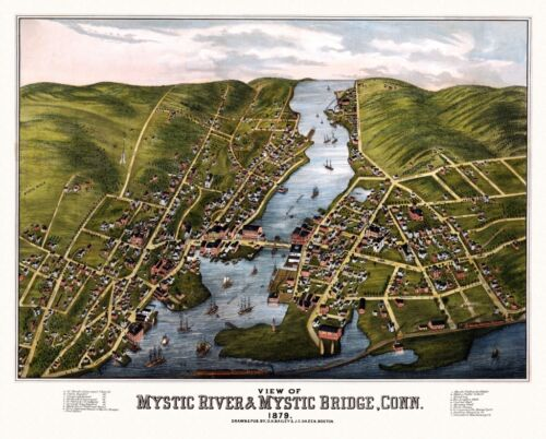 24x36 Vintage Reproduction Panoramic Map Mystic River Connecticut 1879