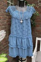 Sommer Mini Kleid Lagenlook Hippie Ibiza Stickerei Häkel Blau Volant 36 38 40
