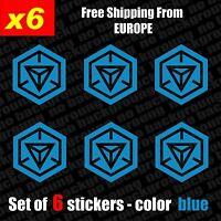 Set of 6 INGRESS Resistance Logo Vinyl Decal Sticker Aufkleber - Blue, Die-Cut