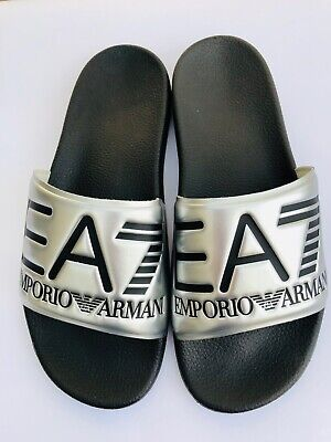 Emporio Armani Ea7 Silver & Black Sliders Sandals Shoes Sizes Uk 6 - 11 Bnib HöChste Bequemlichkeit