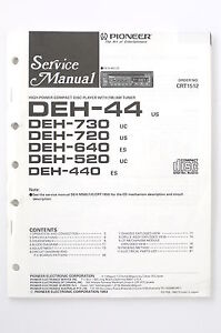 Details about Pioneer DEH-44 /730/720 /640/520/440 Original Service on