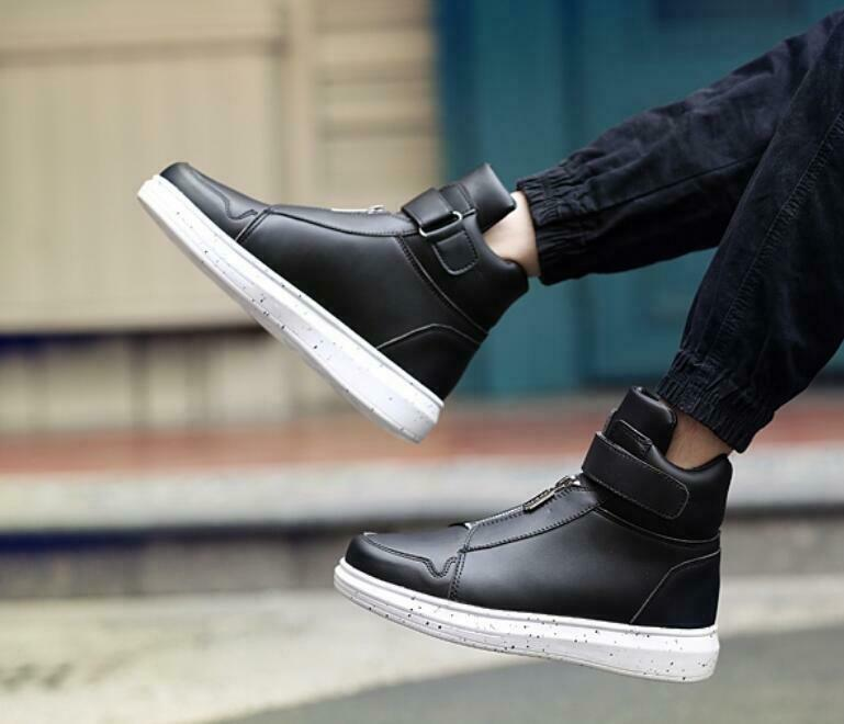 New Korean Style Mens shoes Fashion High Top Sneakers shoes Casual Leather shoes