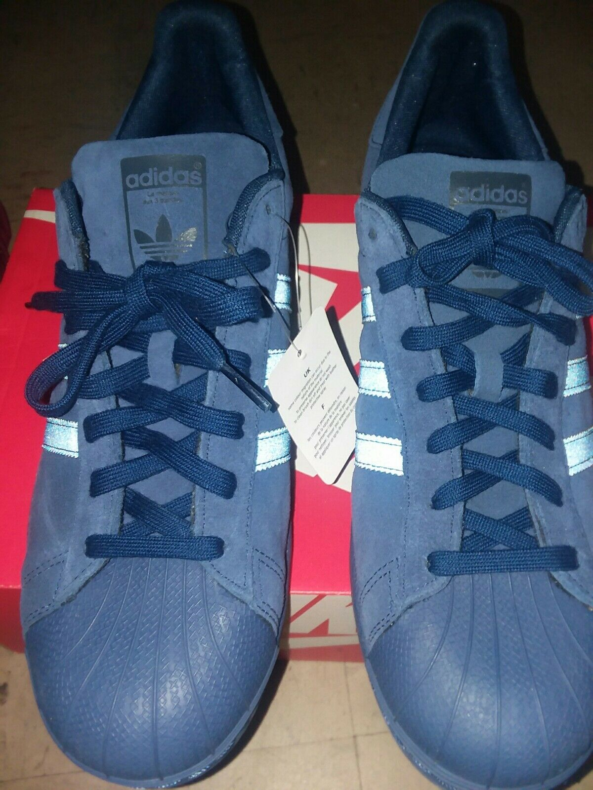 Adidas Originals 3M Superstar Size 13 Men's BB8122 Navy bluee Suede 3M Sneakers