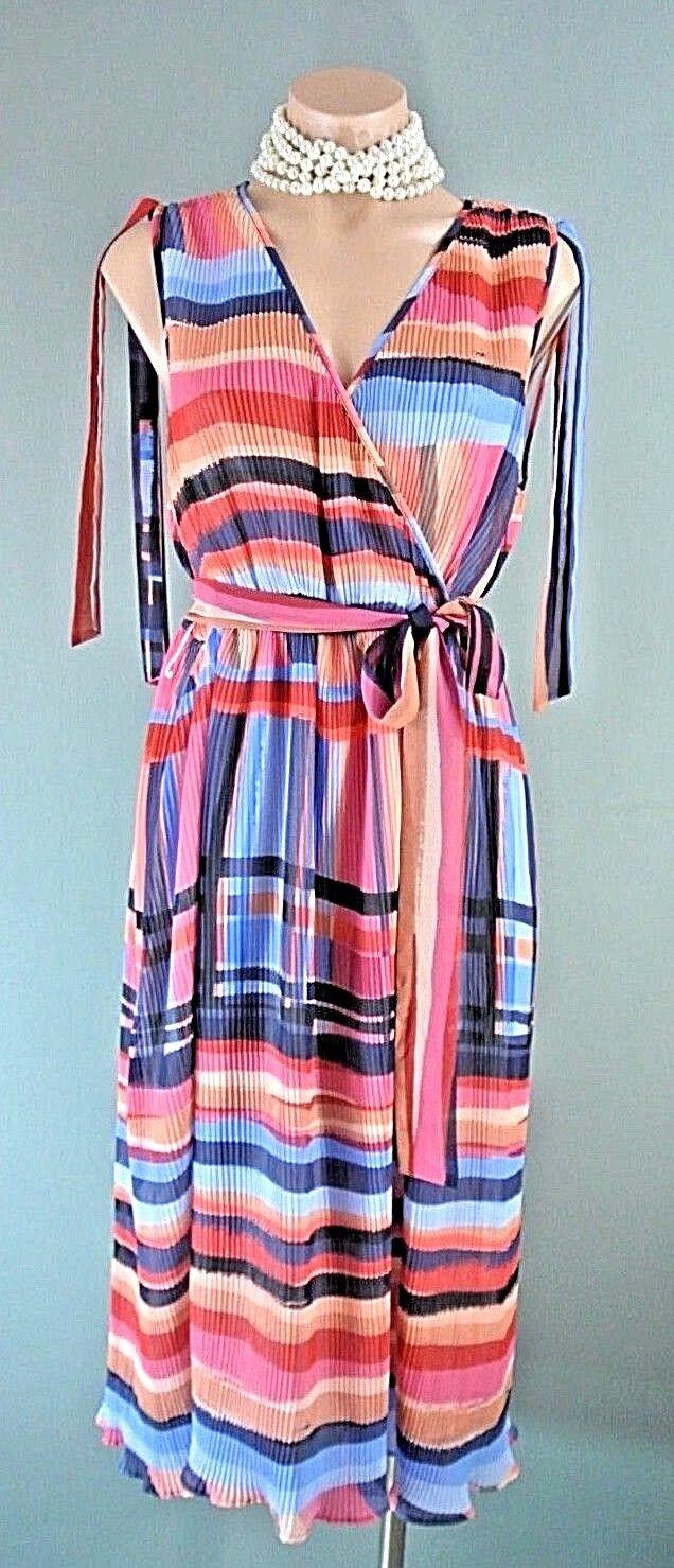 CATHERINE MALANDRINO Multi Farbe Draped Wrap Dress 6 Pleated Work NWT