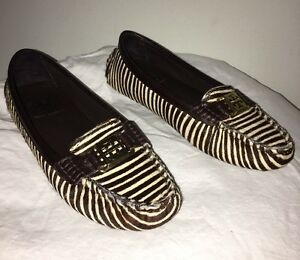 b3b287481 Tory Burch Brown Pony Calf Hair Leather Loafers Zebra Shoes 6.5M