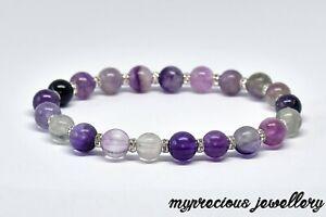 Natural Purple Fluorite Gemstone Bracelet Stone Reiki Elasticated Healing UK