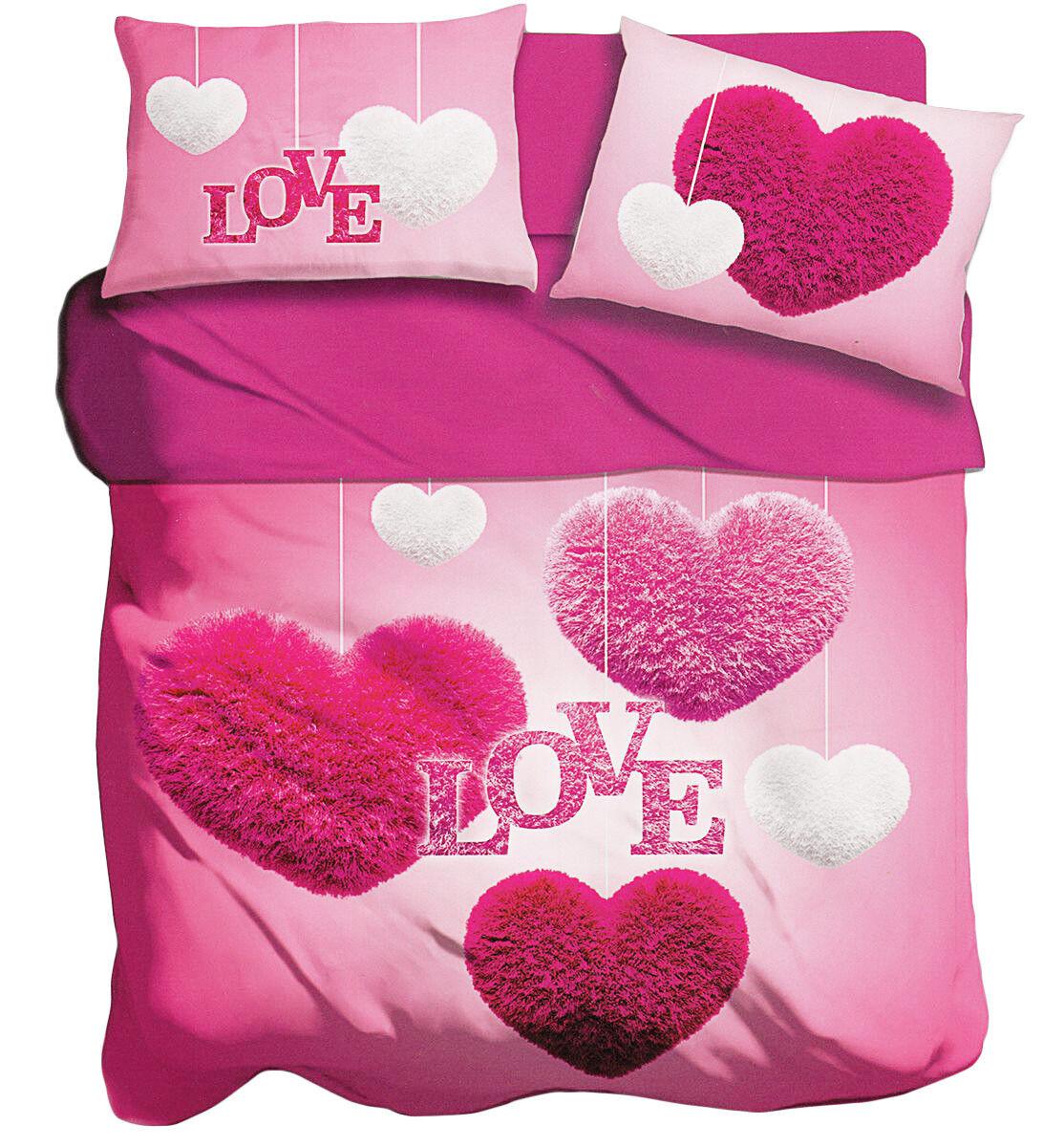 Lenzuola copriletto matrimoniale 2 piazze stampa digitale I love love love sleeping Cuori 9aae01