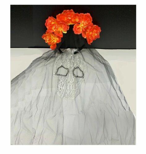 JOUR DES MORTS Scintillant Bijoux de cheveux tete de mort voile fleurs Dead ABAV