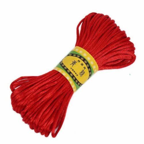 20 m coloré en polyester soie Corde À faire soi-même Fait à la main Accessoire Chinois Noeud Weave cordons