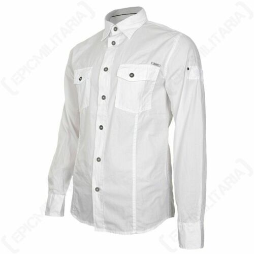 Brandit Slim Fit Shirt White Smart Casual Top Summer Cotton Long Sleeves