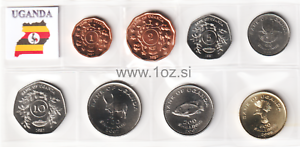UGANDA 1987 4-PIECE UNCIRCULATED COIN SET 1 TO 10 SHILLINGS