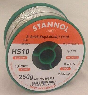 Lötzinn 250 Gramm ø1mm S-Sn95Ag4Cu1//713 Lötdraht bleifrei Hersteller Stannol