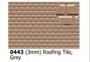 Slaters 0443 0.5mm X 300 X 174mm Roofing Tile 3mm Grey Plastikard Sheet Other N Scale Parts & Accs Model Railroads & Trains