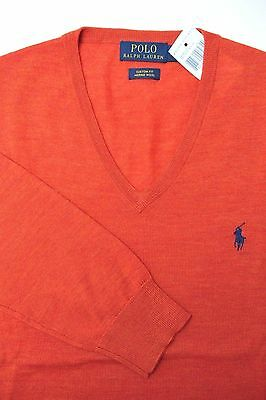 NWT Polo Ralph Lauren Men's V-Neck Custom Fit Merino Wool Dark Orange Sweater S