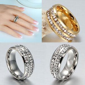 Sz8-12-Men-Women-039-s-Unisex-CZ-Stainless-Steel-Silver-Gold-Ring-Wedding-Rings-New