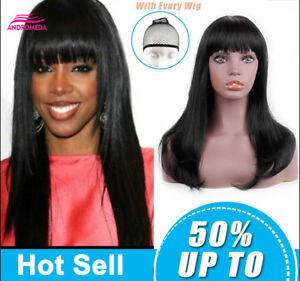 Long Black Straight Women s Wig With Bangs Heat Resistant Synthetic ... 67b03e0b40