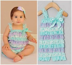 bb3a796b6375 BABY GIRL LACE POSH PETTI RUFFLE FRILL ROMPER NB-4 CAKE SMASH PARTY ...