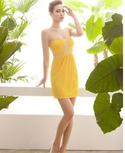 newest collection 92717 e1d65 Dettagli su Elegante Abito vestitino vestito tubino donna - colore giallo a  fascia 3097
