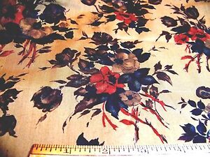 Vintage-1930-039-s-Cotton-Fabric-ROSE-FLORAL-Gold-Red-Teal-Olive-Brown-36-034-W-x-36-034