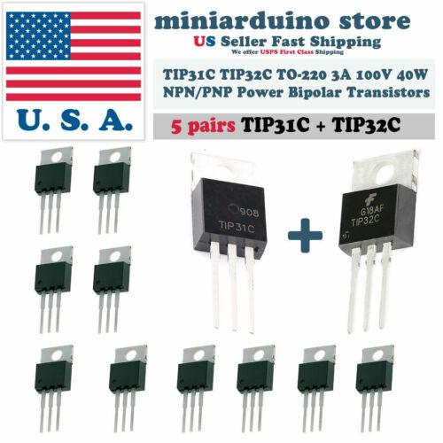 5pairs New TIP31C+TIP32C NPN PNP 3A 100V Transistor TO-220 Bipolar