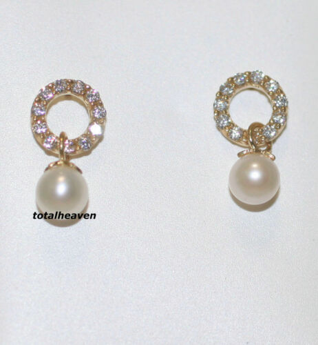 14K Solide Or Jaune AAA Blanc Perle Dangle Boucles d/'oreilles à vis DOS pour Enfants