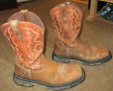 Mens ARIAT Workhog Square Toe Steel Toe Leather Work Boots sz 10.5 EE