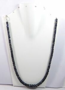 """133.70Ct 6mm Natural Iolite Gemstone Rondelle Faceted Beads 20.5"""" NECKLACE S120"""