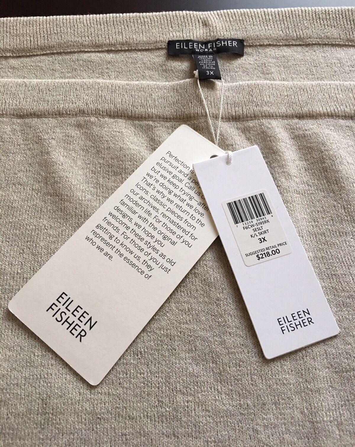 NWT EILEEN FISHER Italian Yarn Wool Crepe Knee Length Pencil Skirt 3X  218