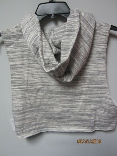 Exist USA Juniors Melange Oatmeal Cropped Lace Sleeveless Hooded Pullover Size S