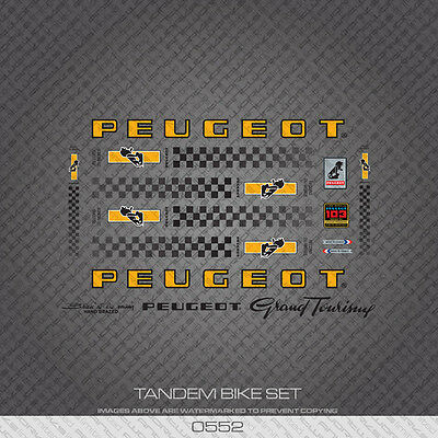 Transfers Decals 0552 Peugeot Grand Touring Tandem Bicycle Frame Stickers